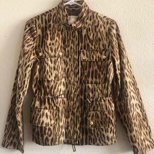 Michael Kors Leopard drawstring waistline jacket